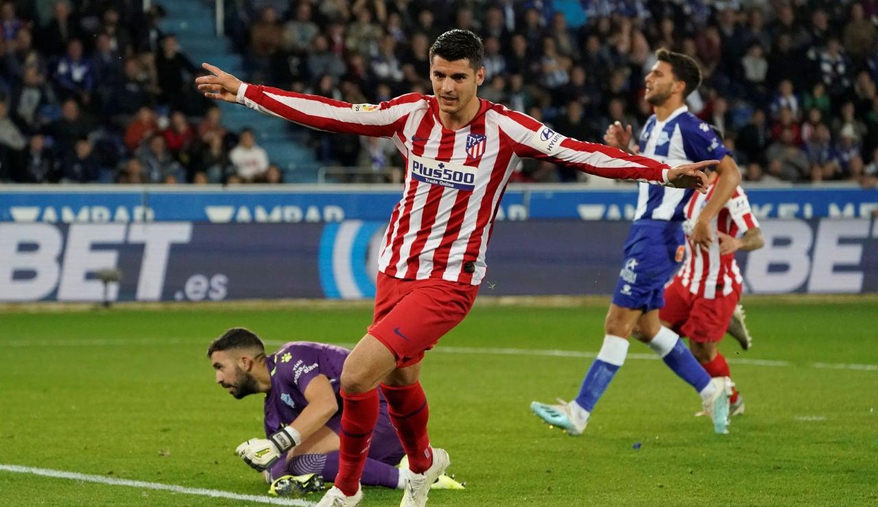 Morata celebra su gol con el Atlético de Madrid
