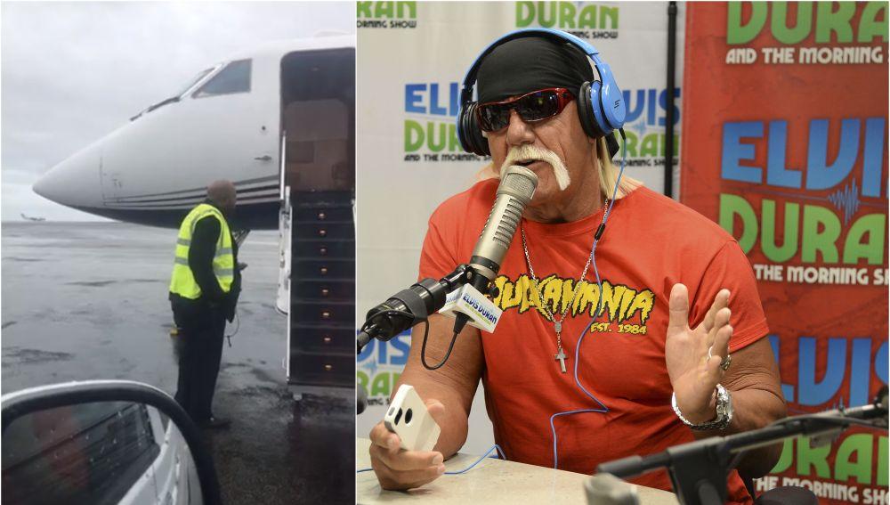 Hulk Hogan y su avión tras aterrizar de emergencia en Islandia