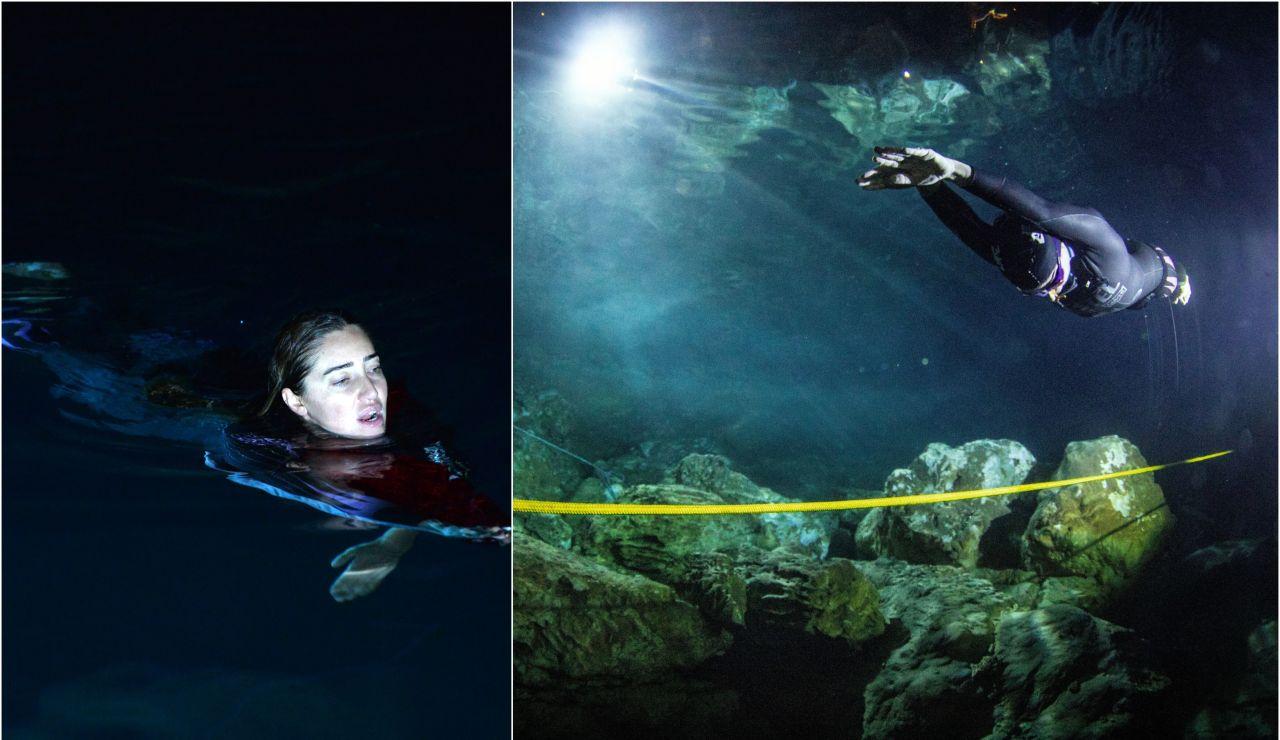 Sahika Ercumen durante su récord en la cueva Gilindire