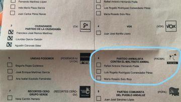 Error en una papeleta electoral en Almería
