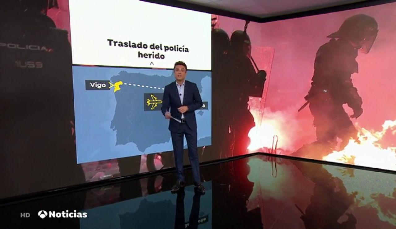 El policía herido en los disturbios de Barcelona será trasladado en un Falcon del ejército a Galicia