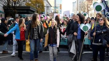 Greta Thunberg en una marcha contra el cambio climático