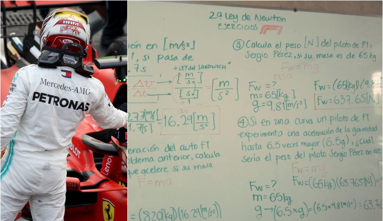 La pizarra de Paula García con los ejercicios de física basados en la F1