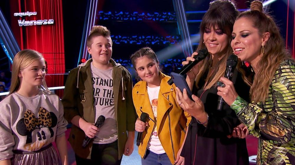 Tres talents, junto a Vanesa Martín y Pastora Soler, 'contaminan' el plató de dulzura y talento en las Batallas de 'La Voz Kids'