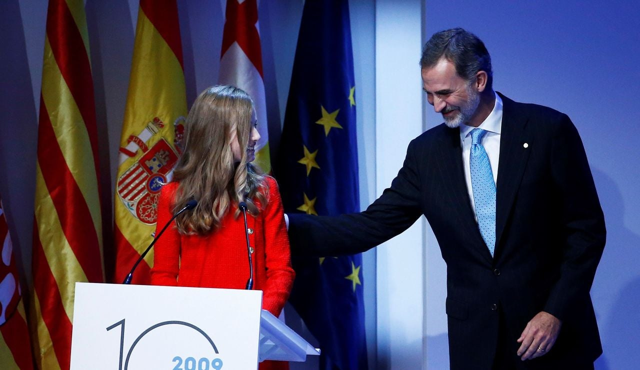 Felipe VI y su hija Leonor, en los premios Princesa de Girona