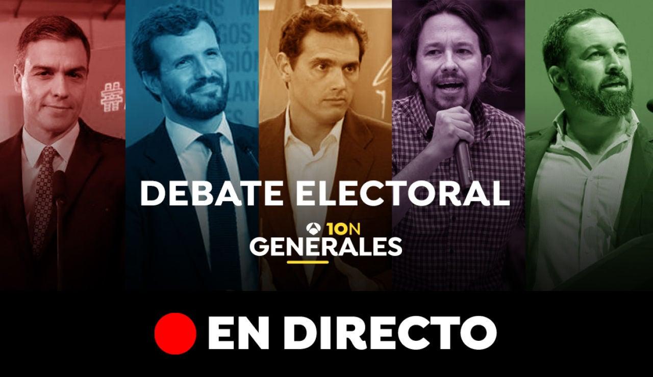 Debate electoral de las elecciones generales 2019 del 10-N, en directo: Pedro Sánchez, Pablo Casado, Albert Rivera, Pablo Iglesias y Santiago Abascal