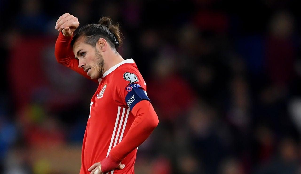 Gareth Bale en un partido con la selección de Gales
