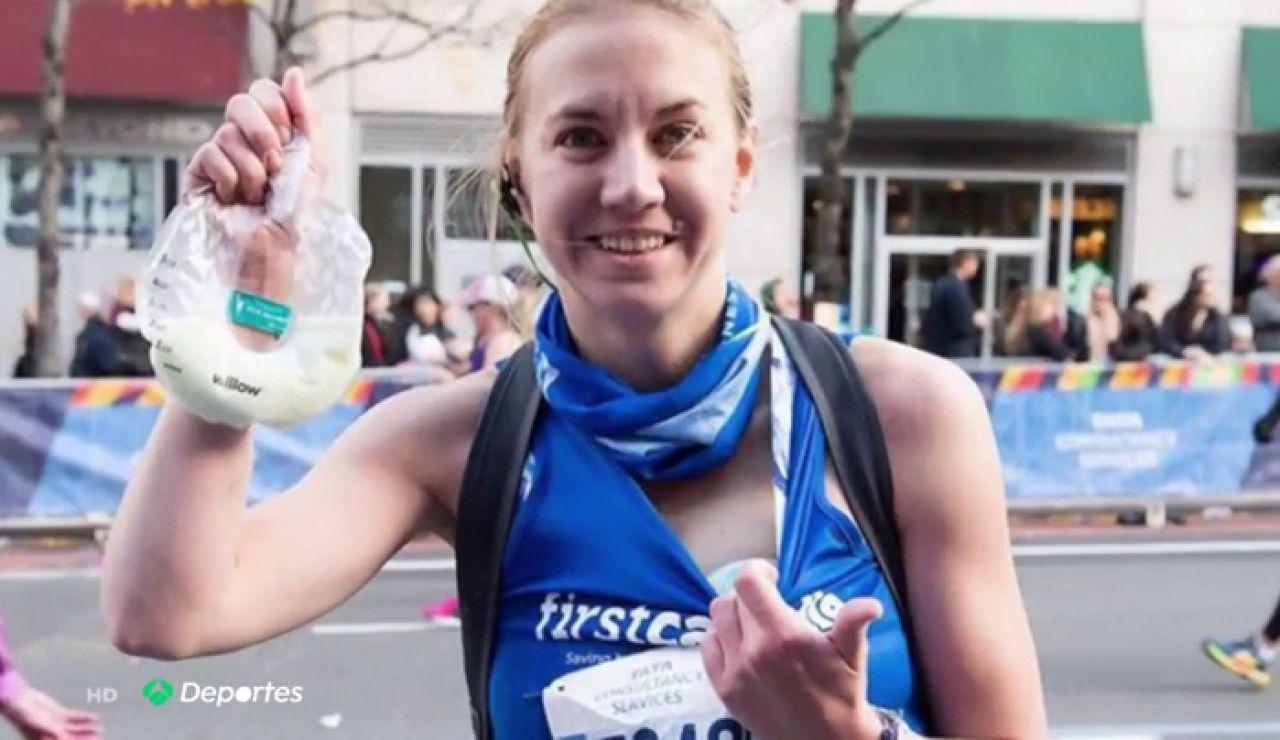 Una madre corre el maratón de Nueva York con un sacaleches y extrae medio litro para su bebé