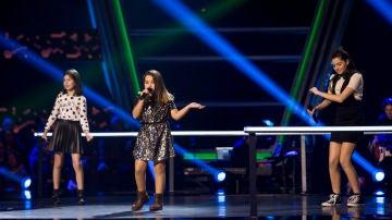 Saira Suárez, Elena Aguallo y Claudia Martínez cantan 'Roar' en las Batallas de 'La Voz Kids'