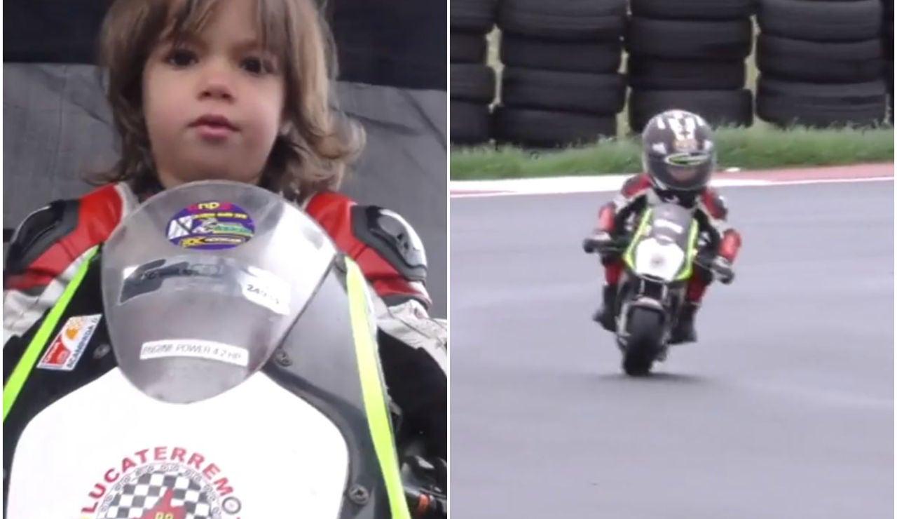 Luca 'terremoto', piloto con sólo tres años
