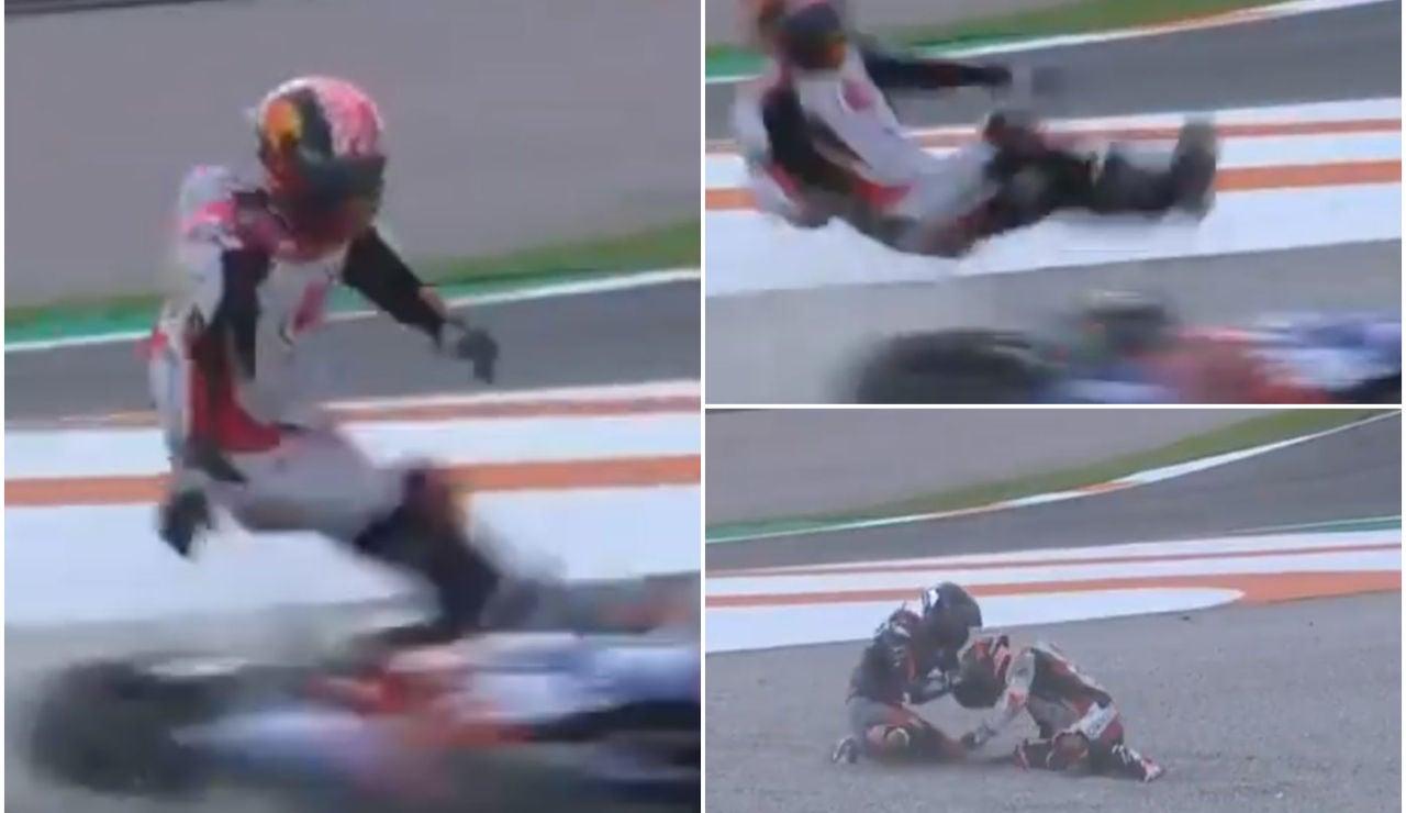El espectacular atropello de la moto de Lecuona a Zarco