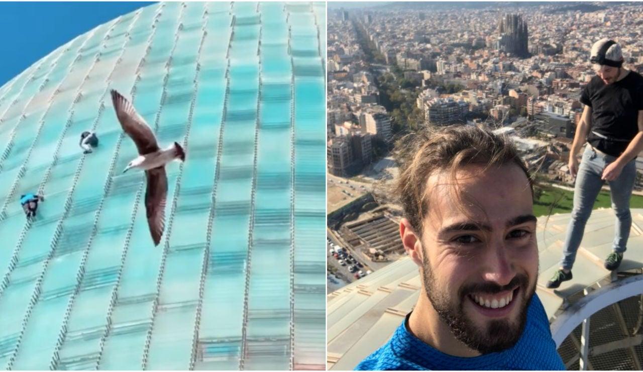 Leo Urban y Nico Mathieux se jugaron la vida para escalar los 145 metros de la torre Glòries