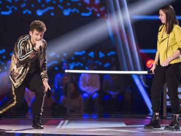 Arkano dedica un rap improvisado a Alba Aguilar en los Asaltos de 'La Voz Kids'