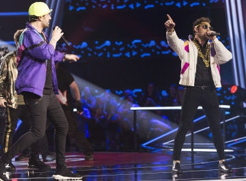 Melendi y David Bisbal sorprenden cantando como raperos de los 80 en los Asaltos de 'La Voz Kids'