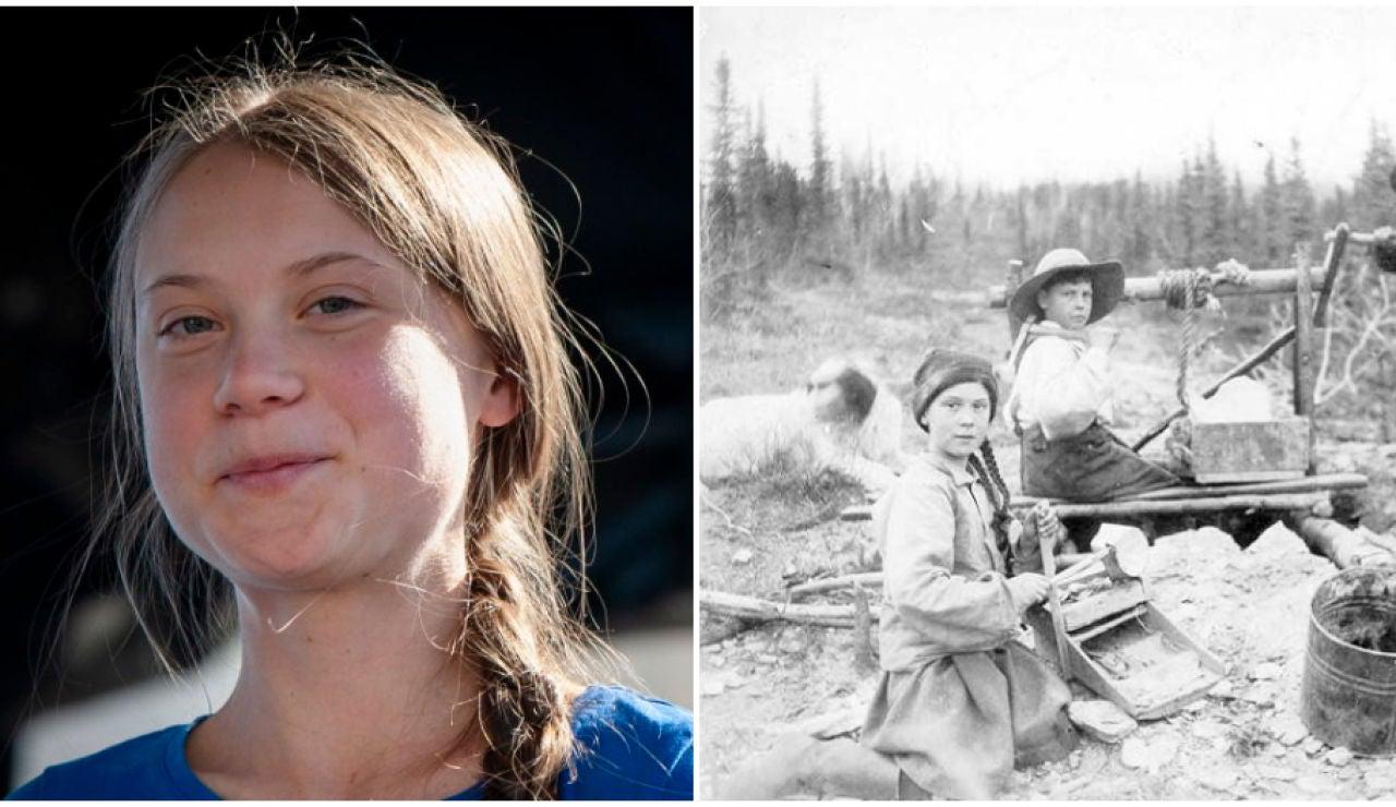 Greta Thunberg y su doble