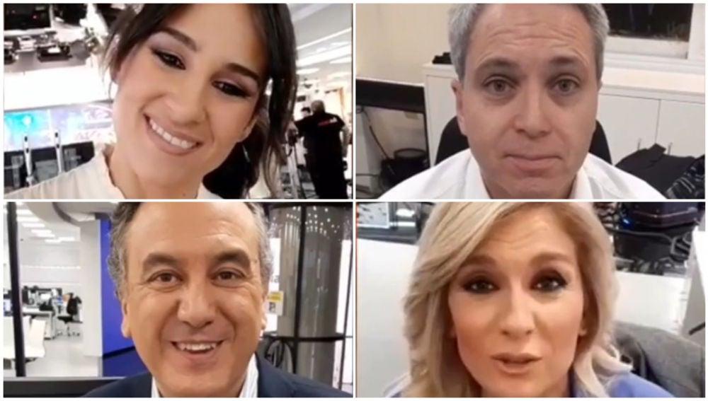 Los presentadores de A3Noticias celebran el Día de la Televisión
