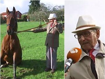 Paco, a sus casi cien años, sigue demostrando su maestría para domar caballos