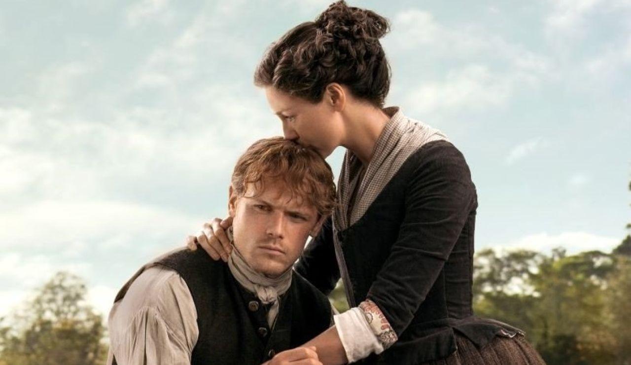 Sam Heughan y Caitriona Balfe como Jamie Fraser en 'Outlander