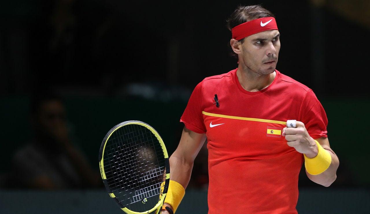 Rafa Nadal celebra un punto durante un partido de la Copa Davis