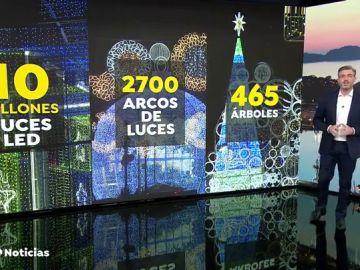 Vigo enciende las luces de Navidad y bate el récord del año pasado: 10.000 millones de luces led