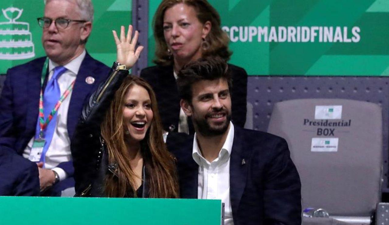 Gerard Piqué, con Shakira en la Copa Davis.