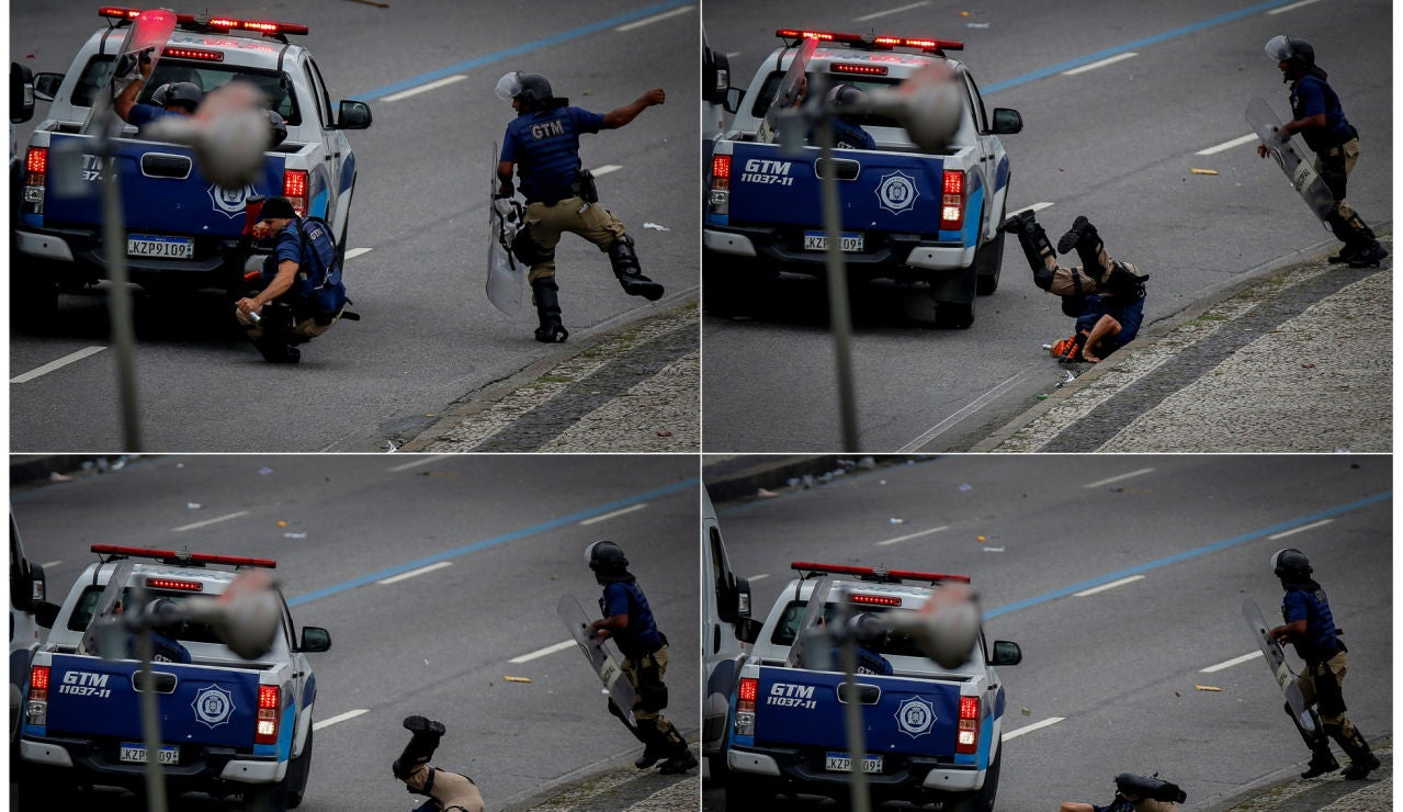 Momento del atropello de dos agentes en las calles de Río