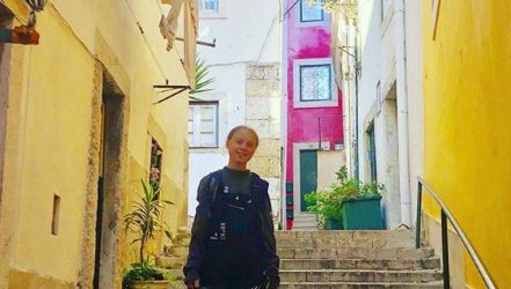 Greta Thunberg en su visita a Lisboa