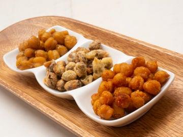 Aperitivos salados garbanzos tostados y pistachos en tempura