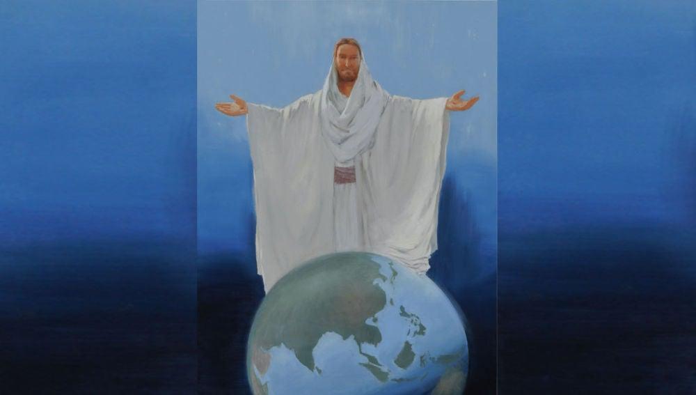 Jesucristo sobre el globo terráqueo