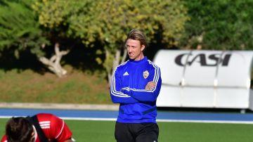 José María Gutiérrez, en un entrenamiento con el Almería