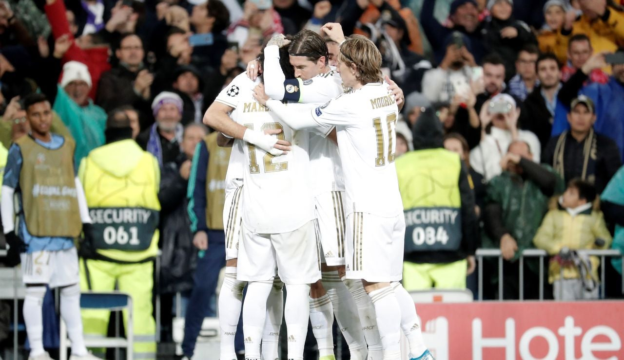 Brujas - Real Madrid: El Real Madrid celebrando un gol en Champions League