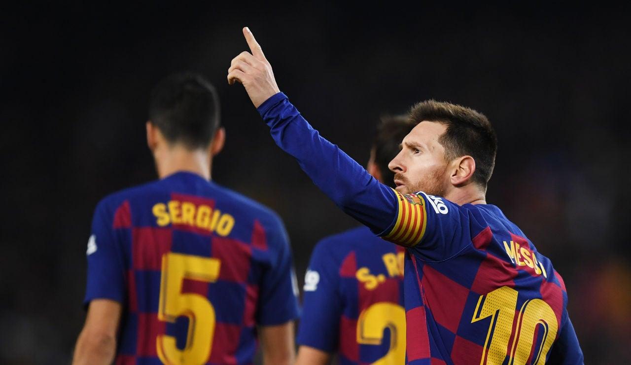 Leo Messi celebra un gol ante el Mallorca
