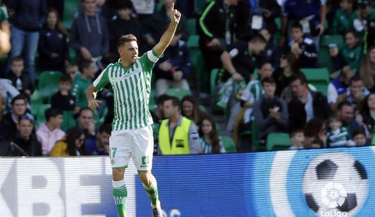 Joaquín celebrando uno de sus tres goles