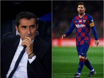 Ernesto Valverde y Leo Messi durante un encuentro con el FC Barcelona
