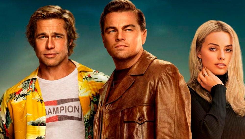 Brad Pitt, Leonardo DiCaprio y Margot Robbie en 'Érase una vez en Hollywood'