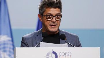 Alejandro Sanz durante su ponencia en la Cumbre del Clima