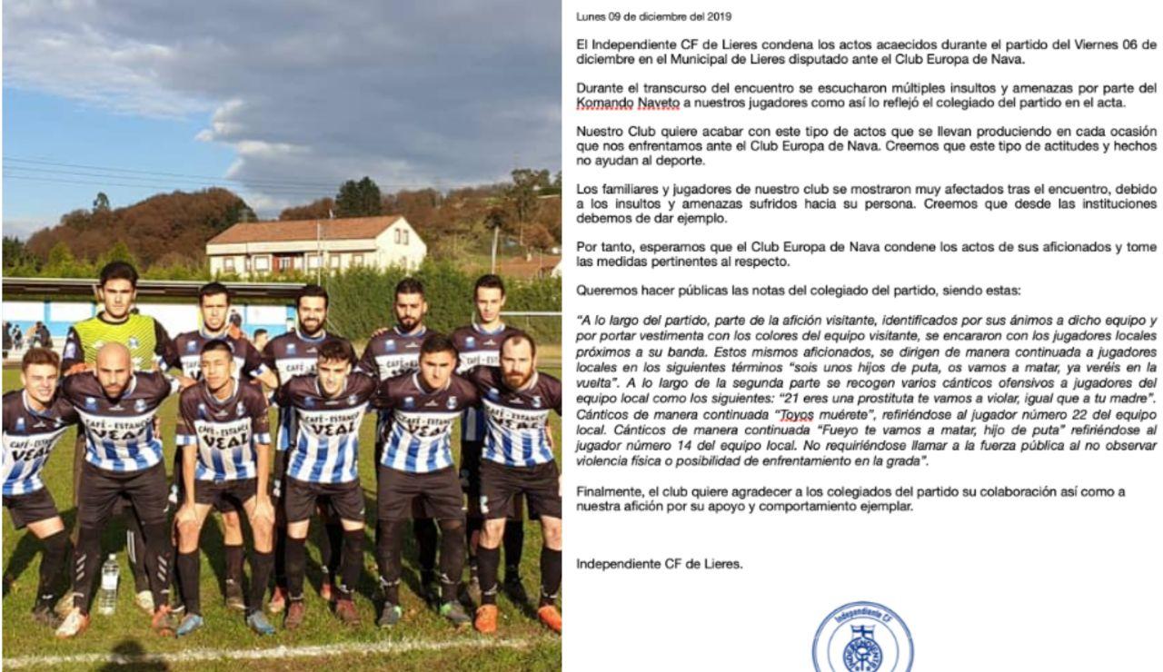 Los futbolistas del Independiente de Lieres durante un encuentro