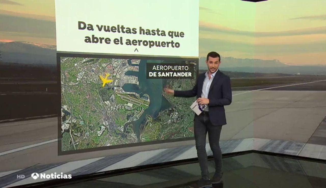 Un vuelo de Ryanair, obligado a dar vueltas los lunes 20 minutos porque el aeropuerto de Santander está cerrado
