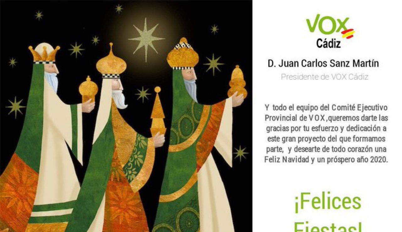 La felicitación navideña de Vox Cádiz