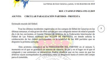 Comunicado oficial del Comité Técnico de Árbitros de Las Palmas