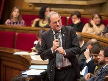 Quim Torra durante la sesión de control al Gobierno catalán