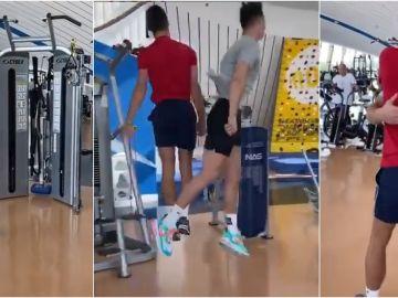 El reto entre Cristiano y Djokovic en un gimnasio