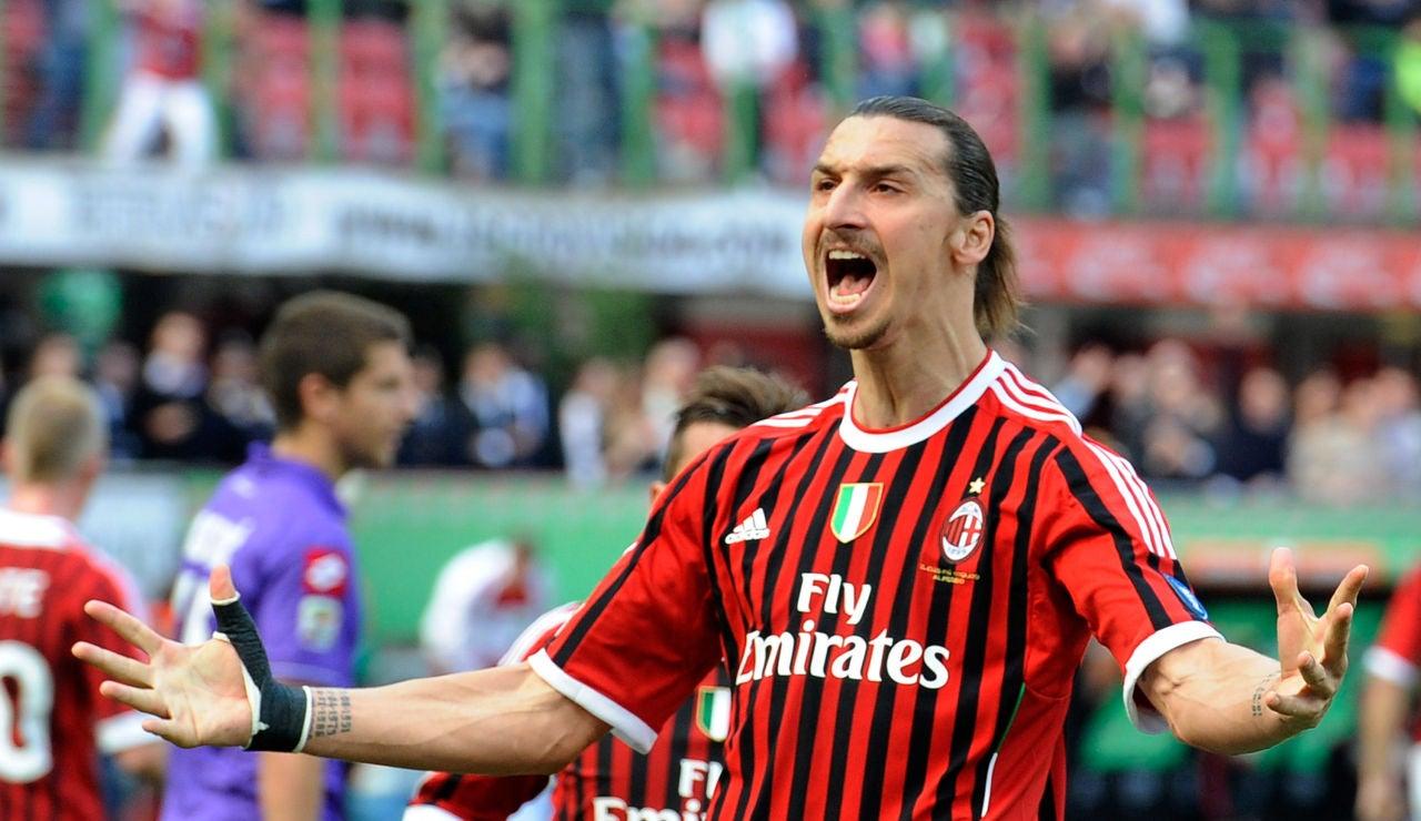 Zlatan Ibrahimovic durante un partido con el AC Milan