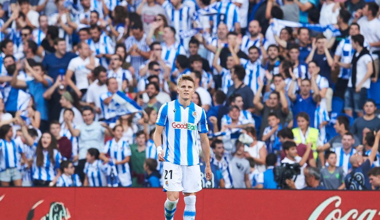 Martin Odegaard, durante un partido de la Real Sociedad