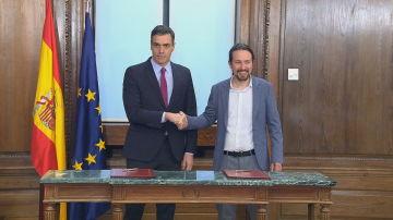 Pedro Sánchez y Pablo Iglesias presentan el programa para su Gobierno de coalición