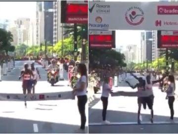 El adelantamiento en la línea de meta durante la San Silvestre de Sao Paulo