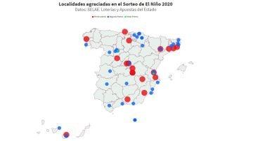 Mapa de las localidades premiadas en el Sorteo del Niño