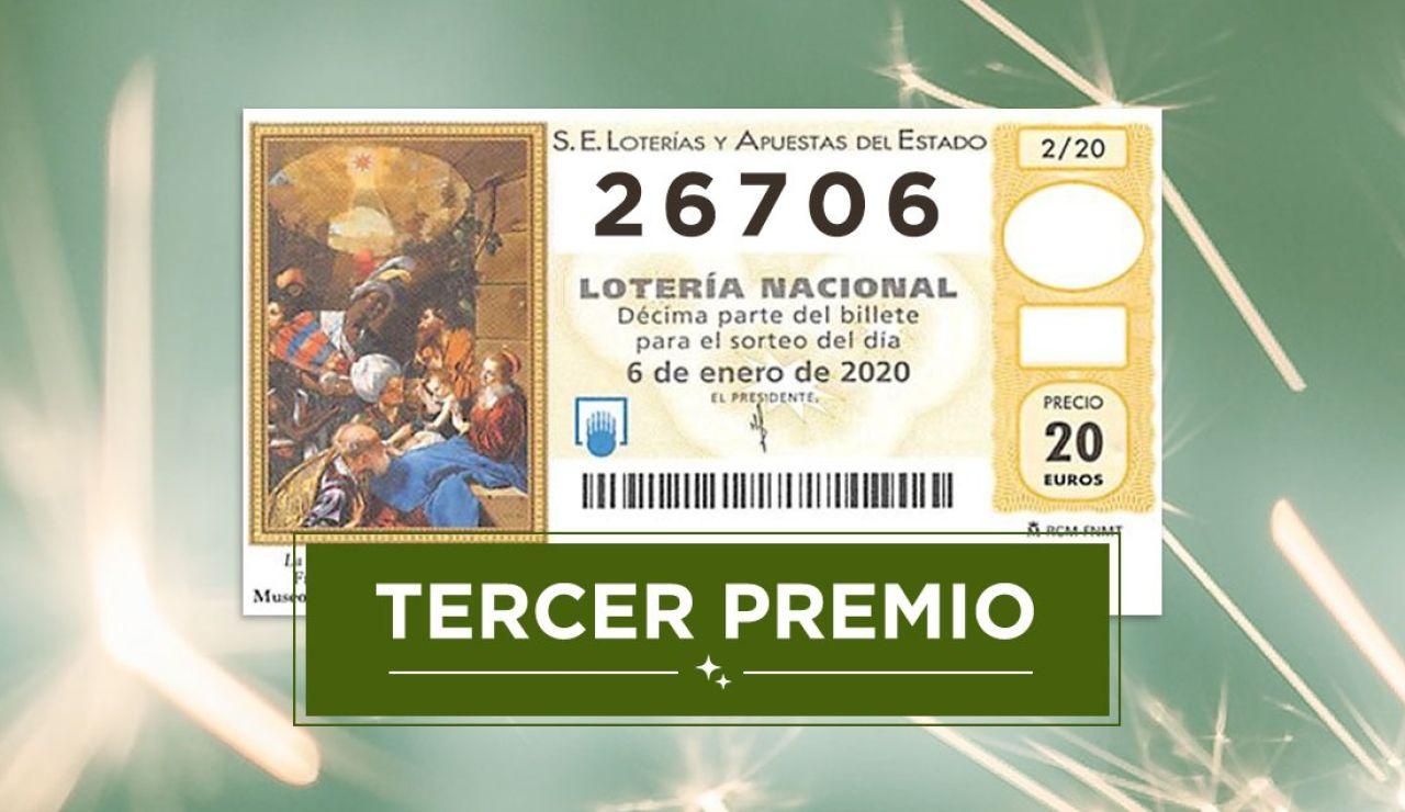 26706, tercer premio de la Lotería del Niño 2020