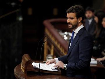Pablo Casado, durante su intervención en el Congreso