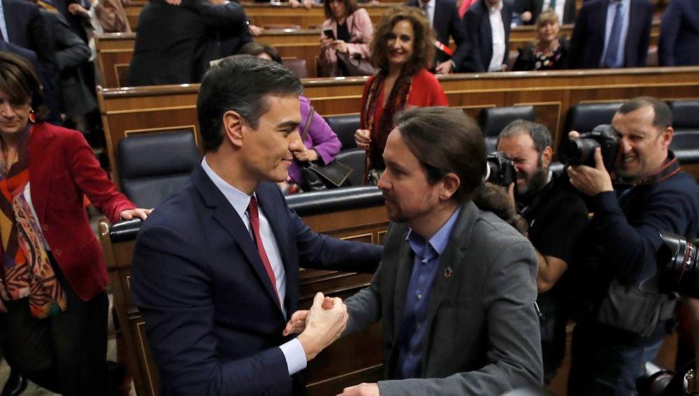 Pedro Sánchez y Pablo Iglesias, tras la investidura